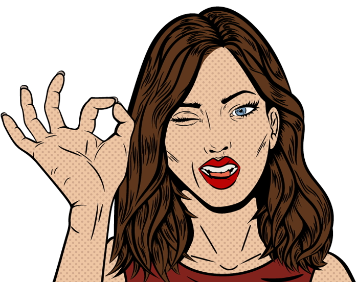 Cartoon Graphic lady giving OK sign